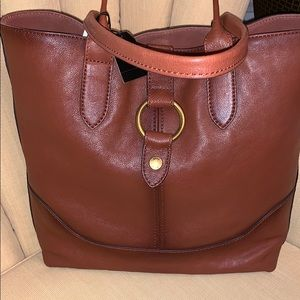 Frye Leather Ring Tote Cognac